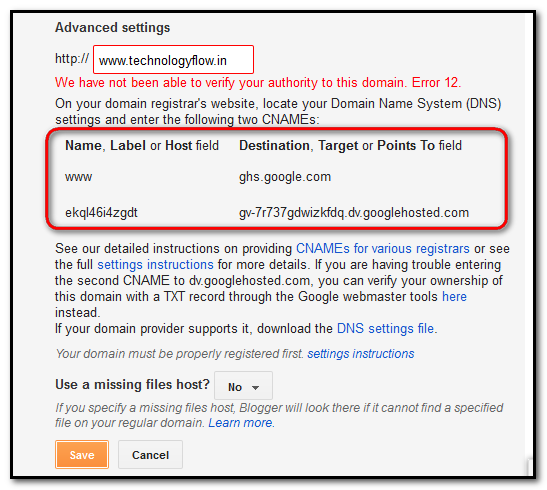 How to add an Existing Domain Name with Blogger