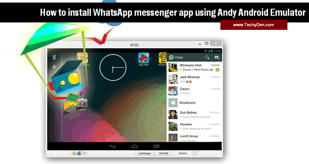 how to install whatsapp messenger app using andy android emulator