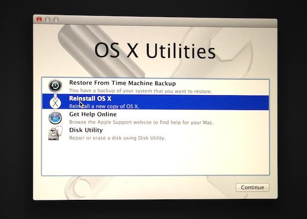 OS X Utility Reinstall OS X