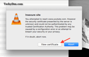 insecure site warning