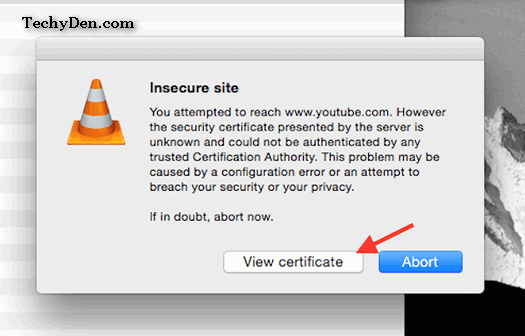 solve insecure site certification