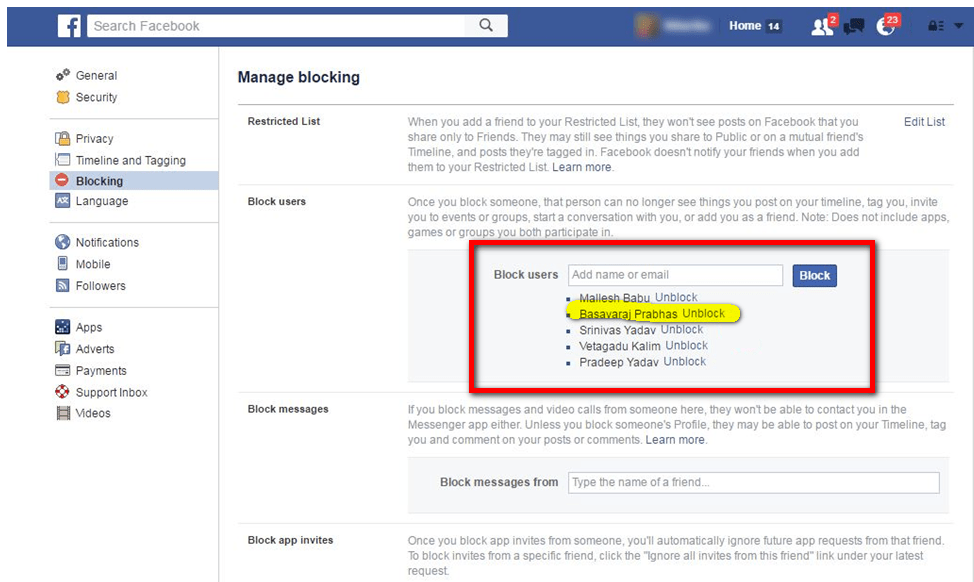How to unblock a friend from Facebook - Blocking and Unblock