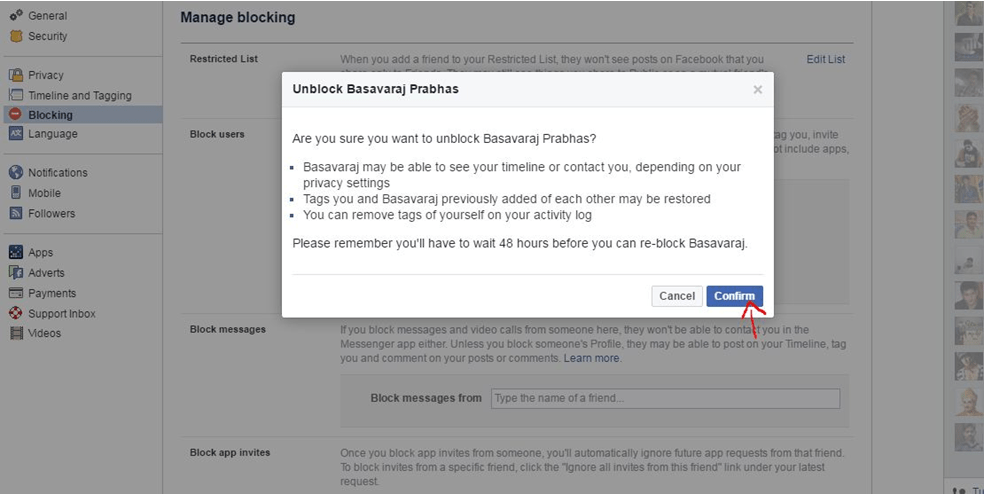 unblocking confirmation from facebook profile security