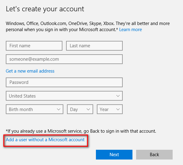 without microsoft account