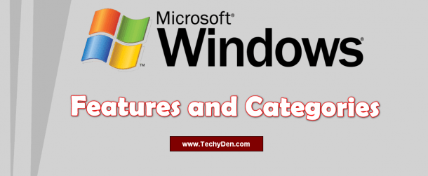 windows features and categories