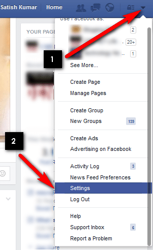go to fb settings