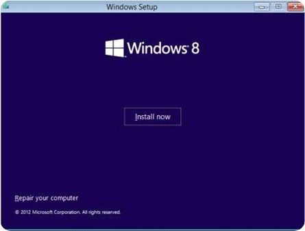 install windows 8 - Install now