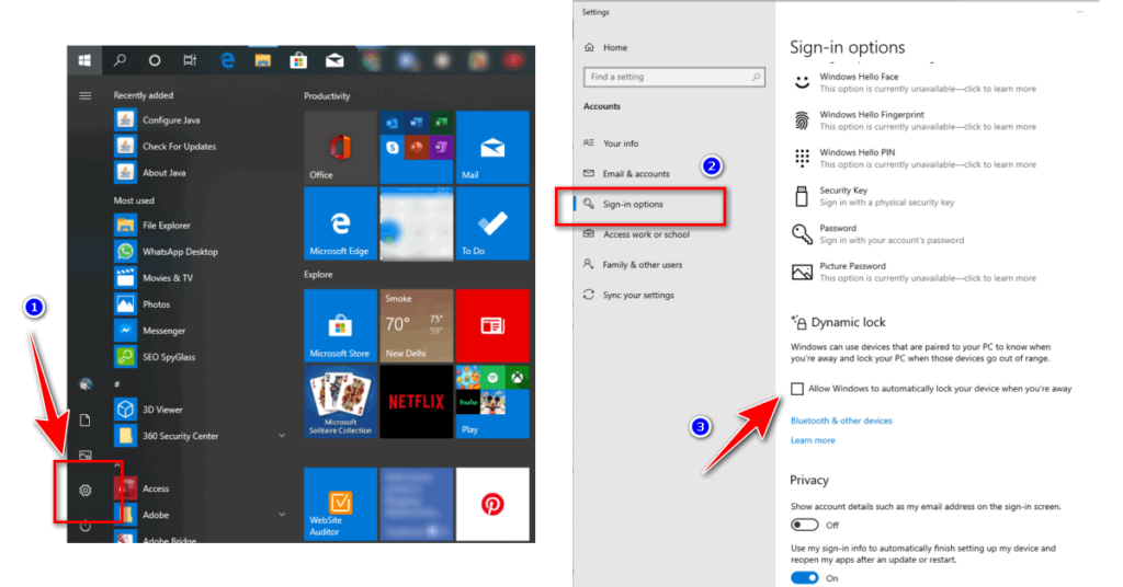 dynamic lock activation in windows 10