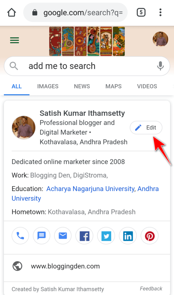 google virtual visiting cards in Edit preview