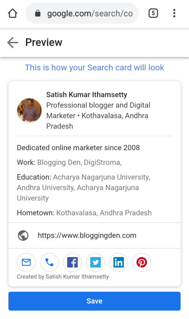google virtual visiting cards in preview